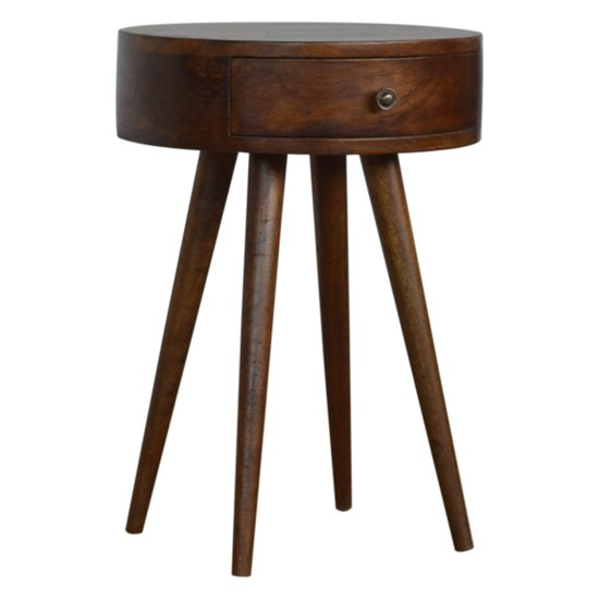 View Lasix wooden circular bedside cabinet in chestnut with 1 drawer