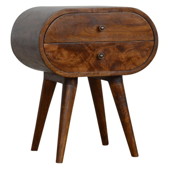 View Vary wooden circular bedside cabinet in chestnut with 2 drawers
