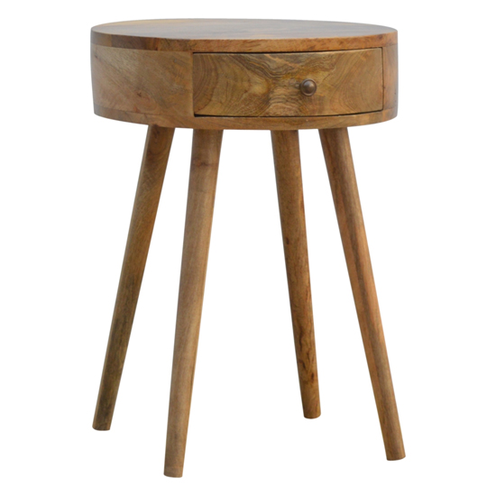Lasix Wooden Circular Bedside Cabinet In Oak Ish With 1 Drawer