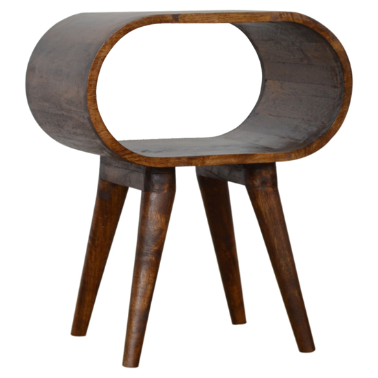View Vary wooden circular open bedside cabinet in chestnut