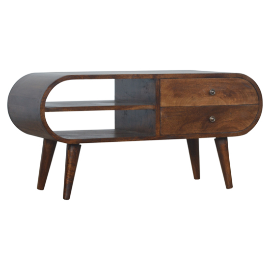 Vary Wooden Circular TV Stand In Chestnut