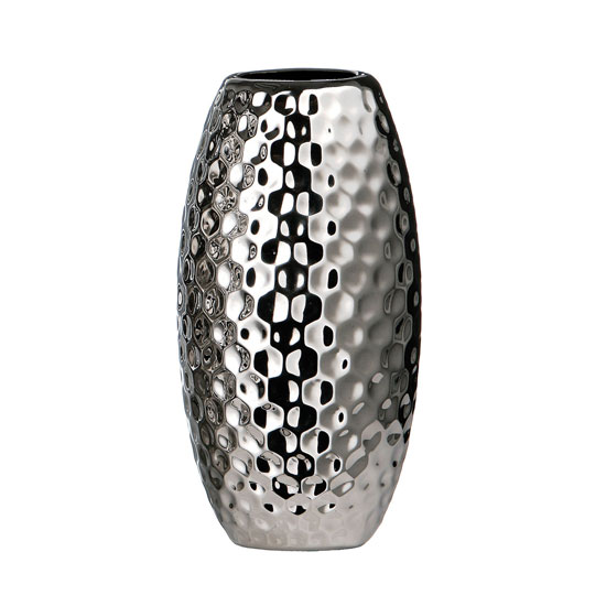 silver hammered effect small ceramic vase vases