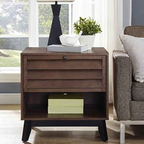 Vaughn Wooden Accent Side Table In Walnut
