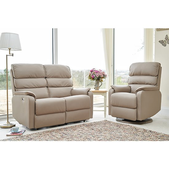 View Vauxhall electric recliner chair and 2 seater sofa suite in pebble