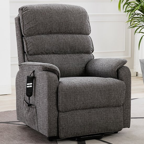 Vauxhall Fabric Electric Riser Recliner Chair In Lisbon Grey