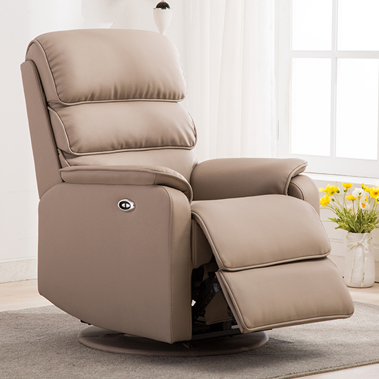 Vauxhall Plush Electric Riser Recliner Chair In Pebble_2