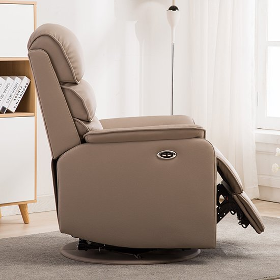 Vauxhall Plush Electric Riser Recliner Chair In Pebble_5