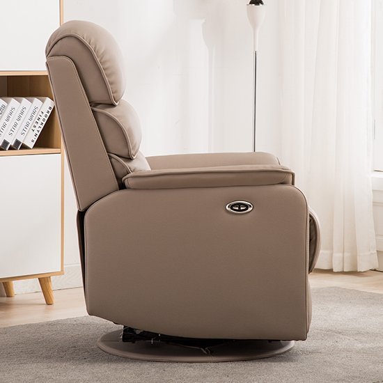 Vauxhall Plush Electric Riser Recliner Chair In Pebble_6