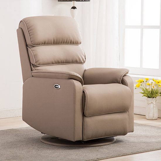 Vauxhall Plush Electric Riser Recliner Chair In Pebble