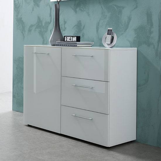 Vector Chest Of Drawers In White With Glass Fronts And 3 Drawers