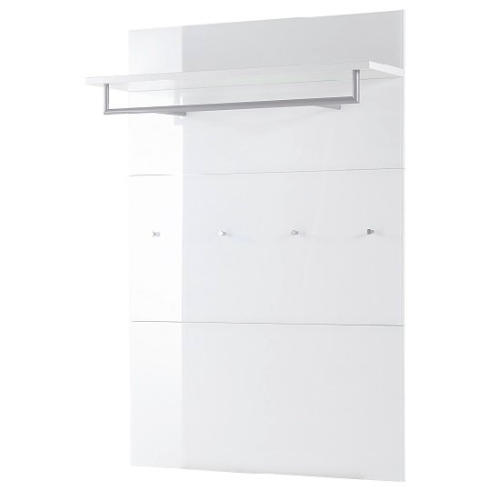 Vector Wall Mounted Coat Rack Panel In White With Glass Fronts_3