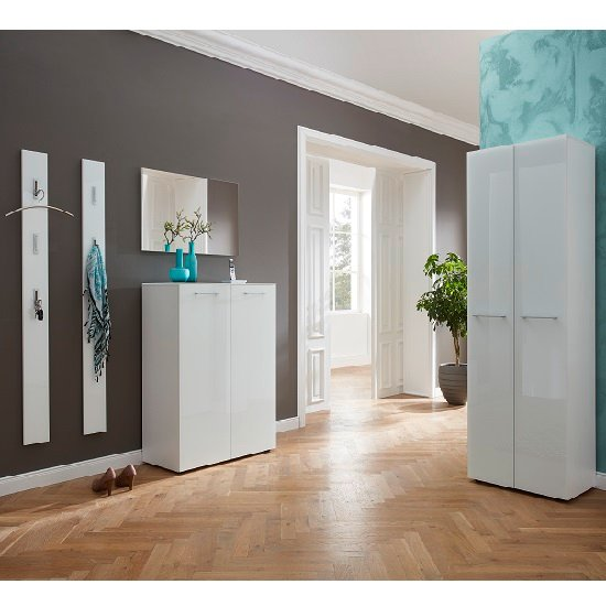 Vector Hallway Furniture Set 2 In White And Glass Fronts