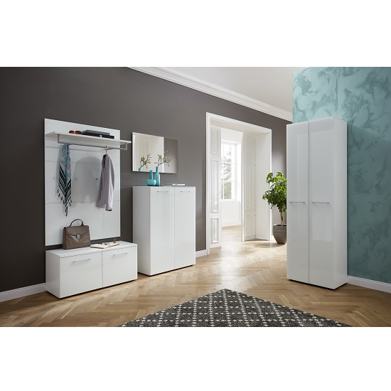 Read more about Vector hallway furniture set 1 in white and glass fronts