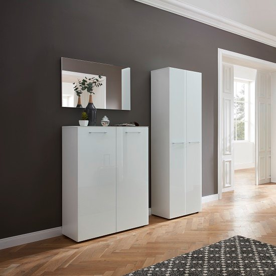 Vector Hallway Wardrobe In White With Glass Fronts_6