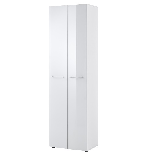Vector Hallway Wardrobe In White With Glass Fronts_2