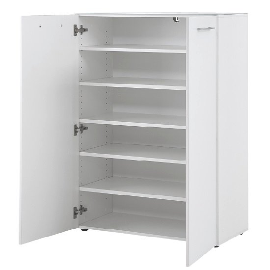 Vector Shoe Cabinet In White With 2 Doors In Glass Fronts_3