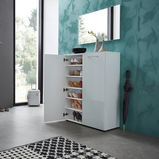 Vector Shoe Cabinet In White With 2 Doors In Glass Fronts_4