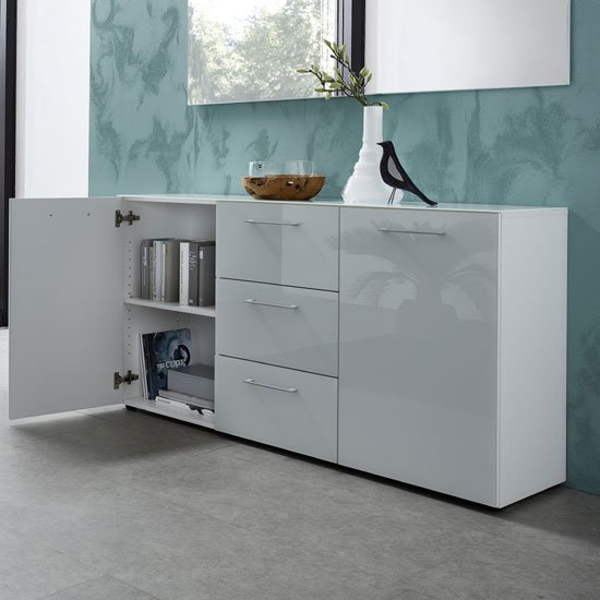Vector Modern Sideboard In White With Glass Fronts_2