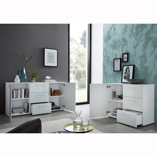 Vector Modern Sideboard In White With Glass Fronts_3