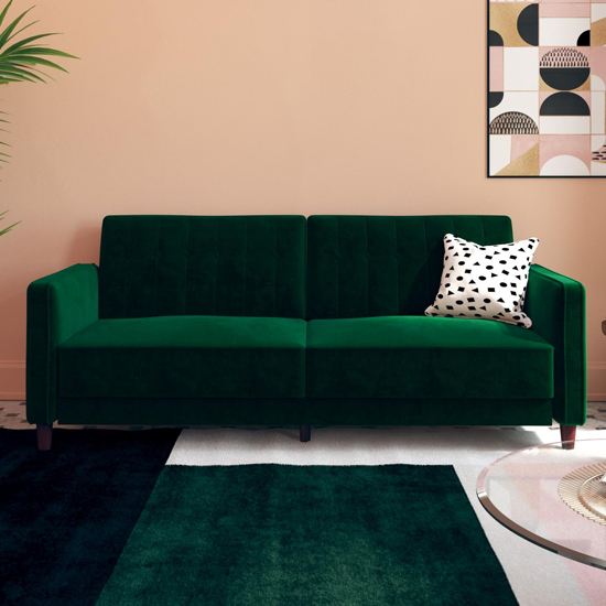 Vectro Velvet Upholstered Pin Tufted Sofa Bed In Green