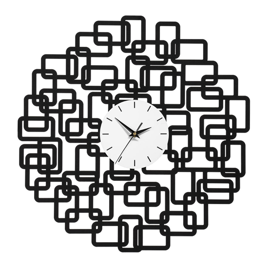Veeto Abstract Squares Design Wall Clock In Black