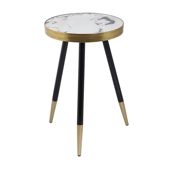Vega White Marble Side Table With Black Wooden Legs