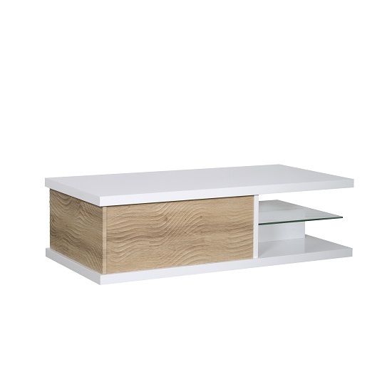 Metz Contemporary Coffee Table In White High Gloss And Oak