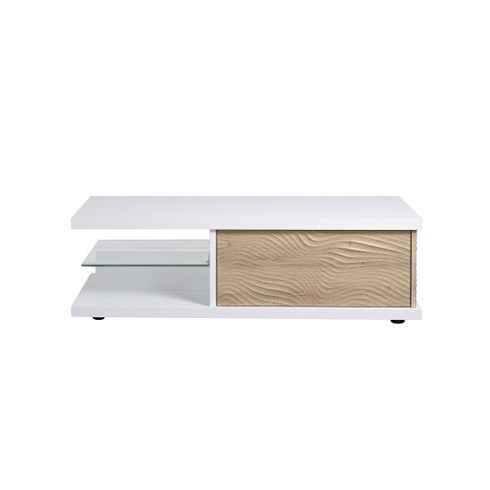 Metz Contemporary Coffee Table In White High Gloss And Oak_4