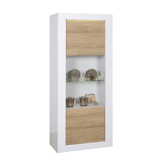 Metz Glass Display Cabinet In White Gloss And Oak With LED