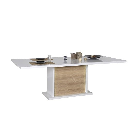 Metz Extendable Dining Table In White Gloss Oak With Lighting