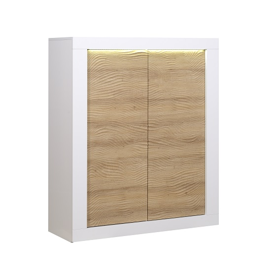 Metz Highboard In Oak And White Gloss With LED Lighting_1