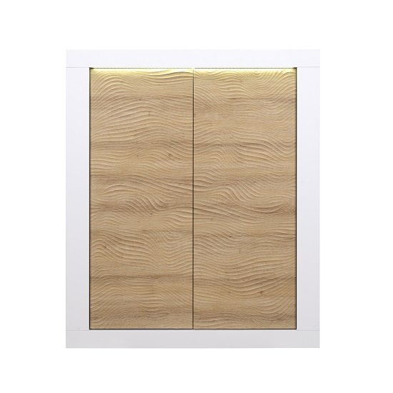 Metz Highboard In Oak And White Gloss With LED Lighting_3