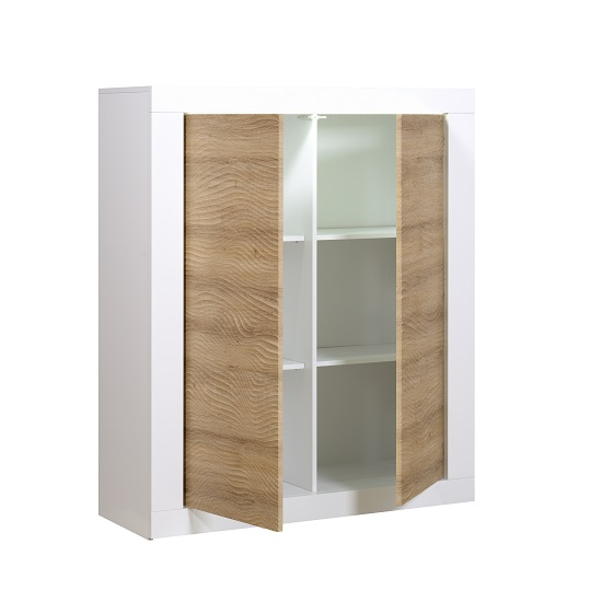 Metz Highboard In Oak And White Gloss With LED Lighting_2