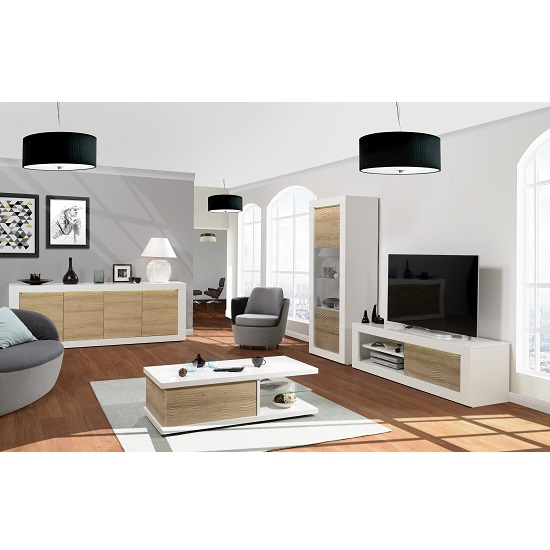 Metz Contemporary Coffee Table In White High Gloss And Oak_5