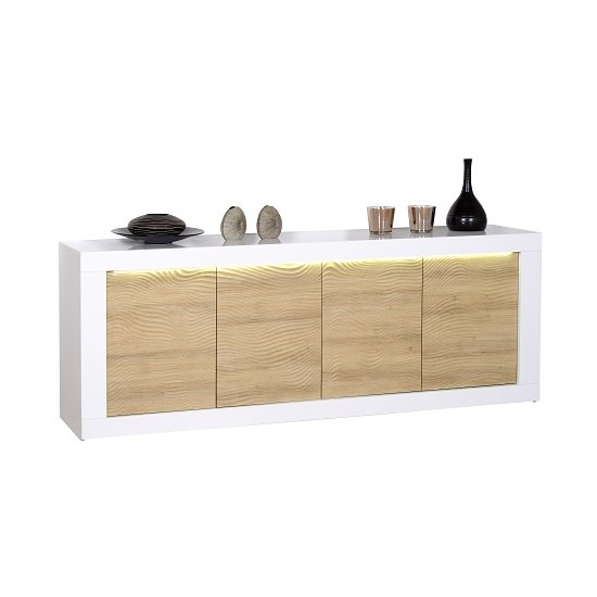 Metz Modern Sideboard In Oak And White Gloss With LED Lighting