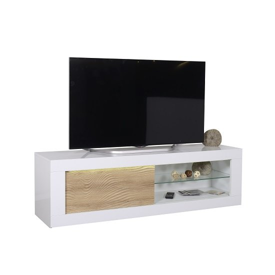 Metz Wooden TV Stand In White High Gloss And Oak With Lighting
