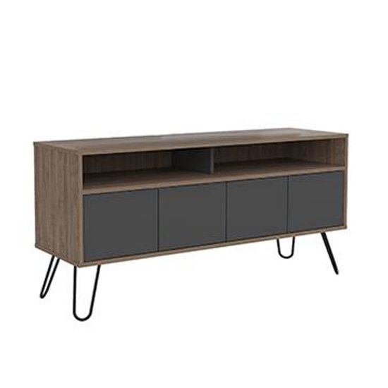Vegas TV Unit In Bleached Oak and Grey With 4 Doors