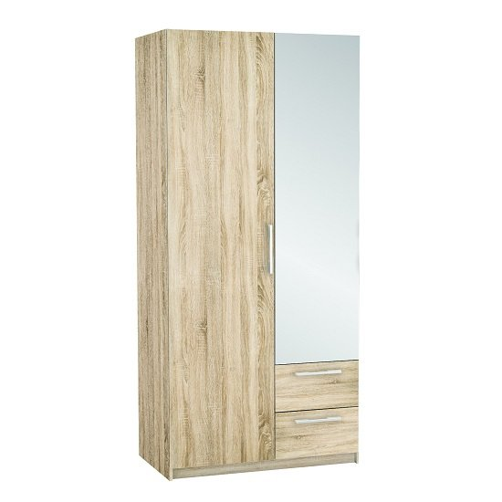 Vegas Mirrored Wardrobe In Brushed Oak And Linen With 2 Doors