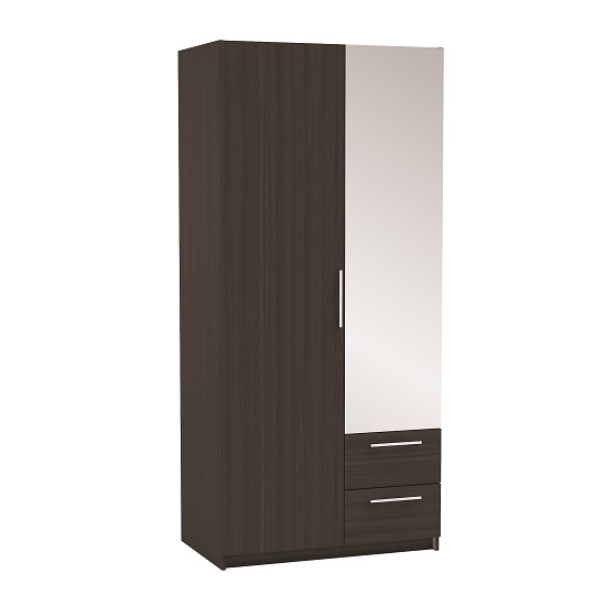 Vegas Mirrored Wardrobe In Vulcano Oak And Linen With 2 Doors