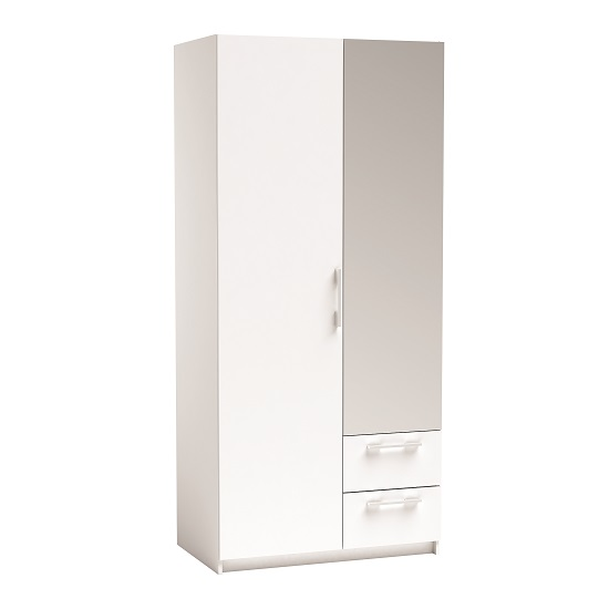 Vegas Mirrored Wardrobe In Pearl White And Linen With 2 Doors_1