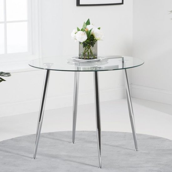 View Vela small round glass dining table with chrome legs