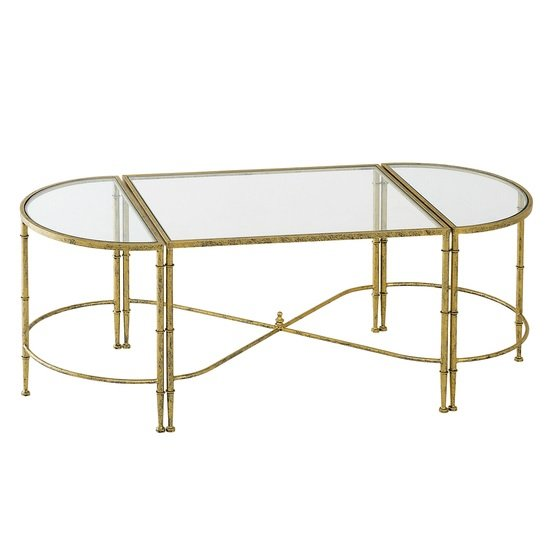 Veleso glass coffee table in clear with metal frame 31358 for Metal frame glass coffee table