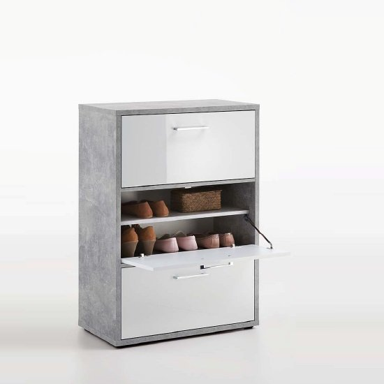 modern shoe storage cabinet in white with 4 doors 26810 furn