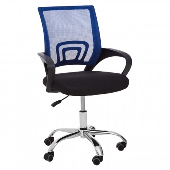 Velika Home And Office Chair In Blue With Black Armrest