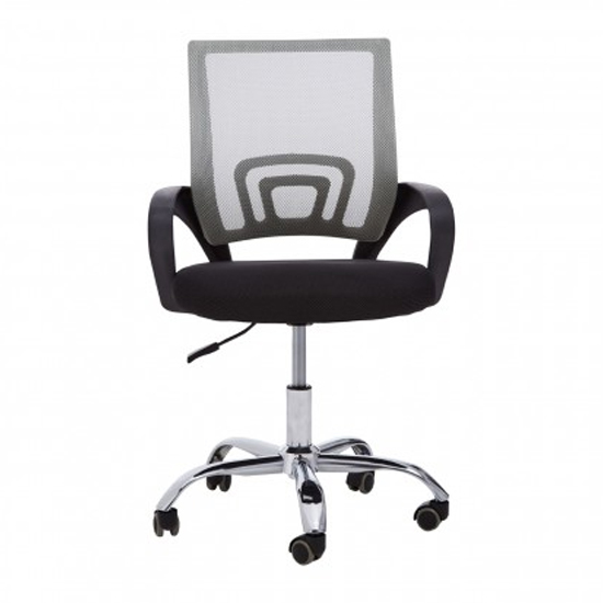 Velika Home And Office Chair In Grey With Black Armrest_2