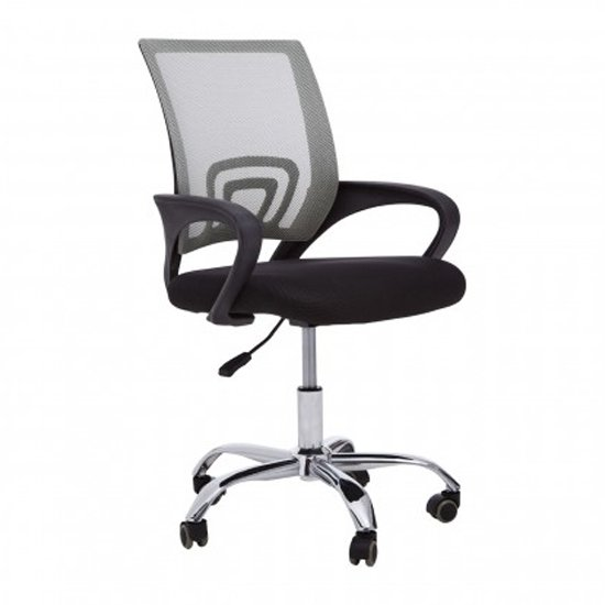 Velika Home And Office Chair In Grey With Black Armrest_1