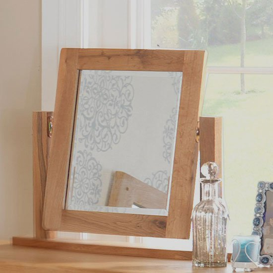 Velum Dressing Table Mirror In Chunky Solid Oak Frame