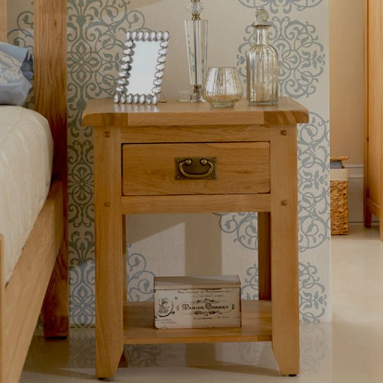 Velum Wooden Bedside Cabinet In Chunky Solid Oak With 1 Drawer