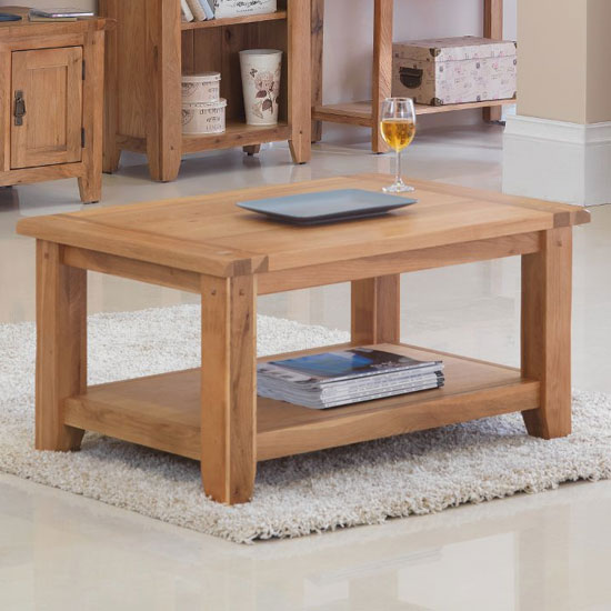 Velum Wooden Coffee Table In Chunky Solid Oak With Shelf