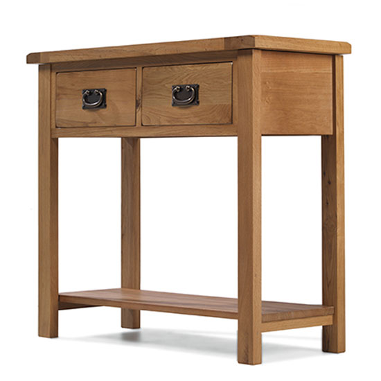 Velum Wooden Console Table In Chunky Solid Oak With 2 Drawers_2